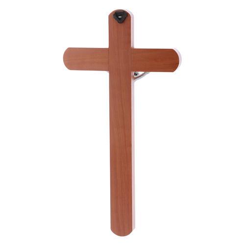 Crocifisso moderno arrotondato legno di pero 25 cm 3