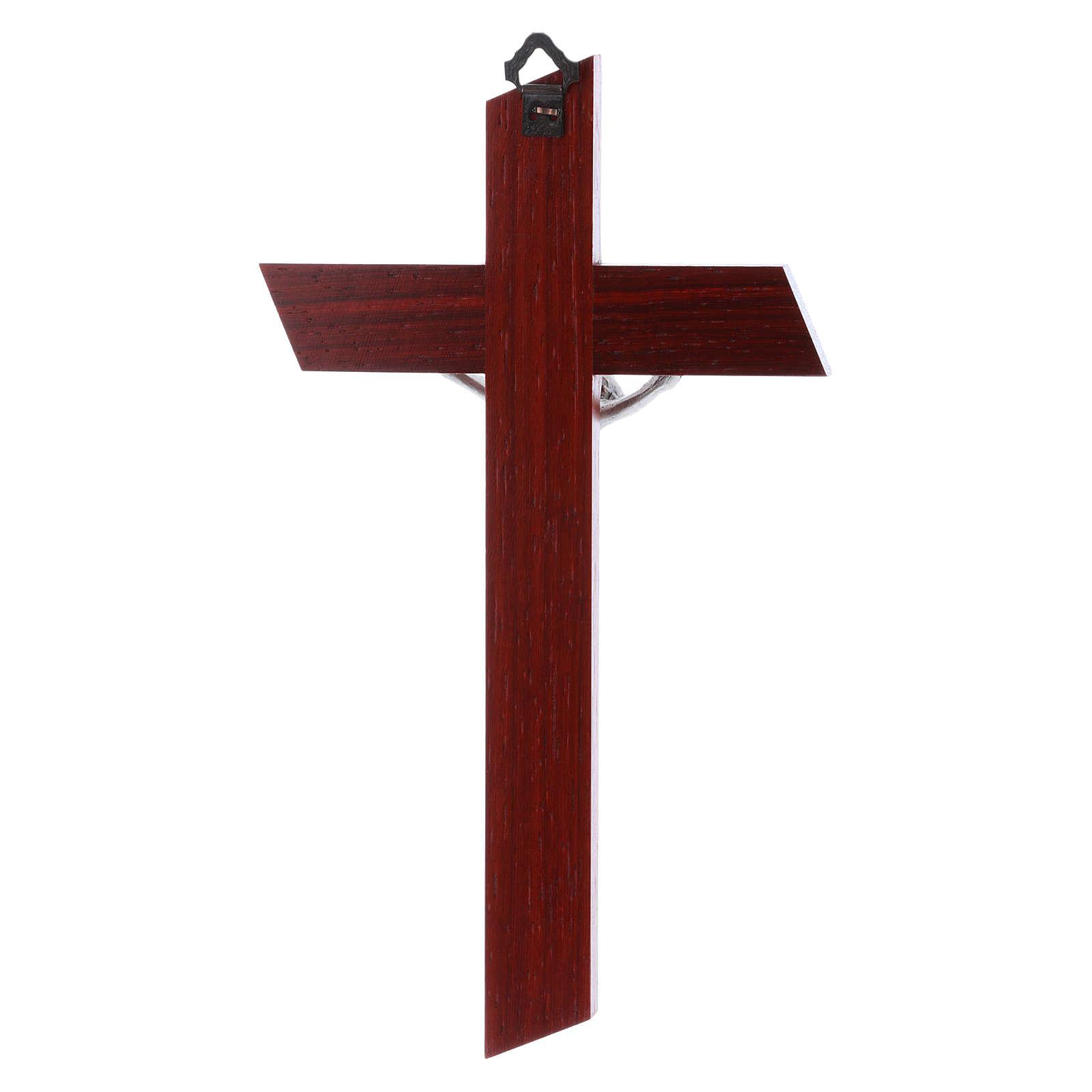 Crocifisso in legno di olivo moderno padouk con corpo argentato 21 cm 4