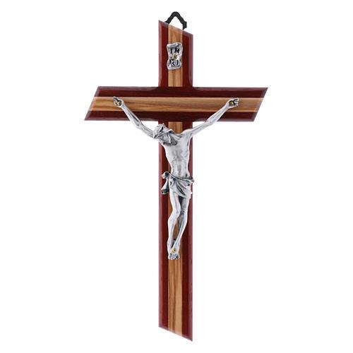 Crocifisso in legno di olivo moderno padouk con corpo argentato 21 cm 1