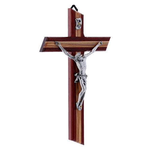 Crocifisso in legno di olivo moderno padouk con corpo argentato 21 cm 2