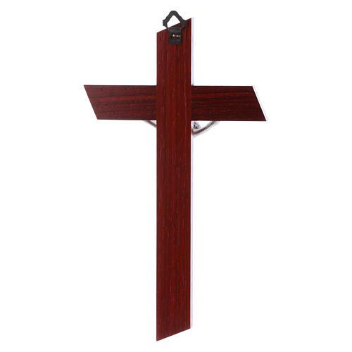 Crocifisso in legno di olivo moderno padouk con corpo argentato 21 cm 3