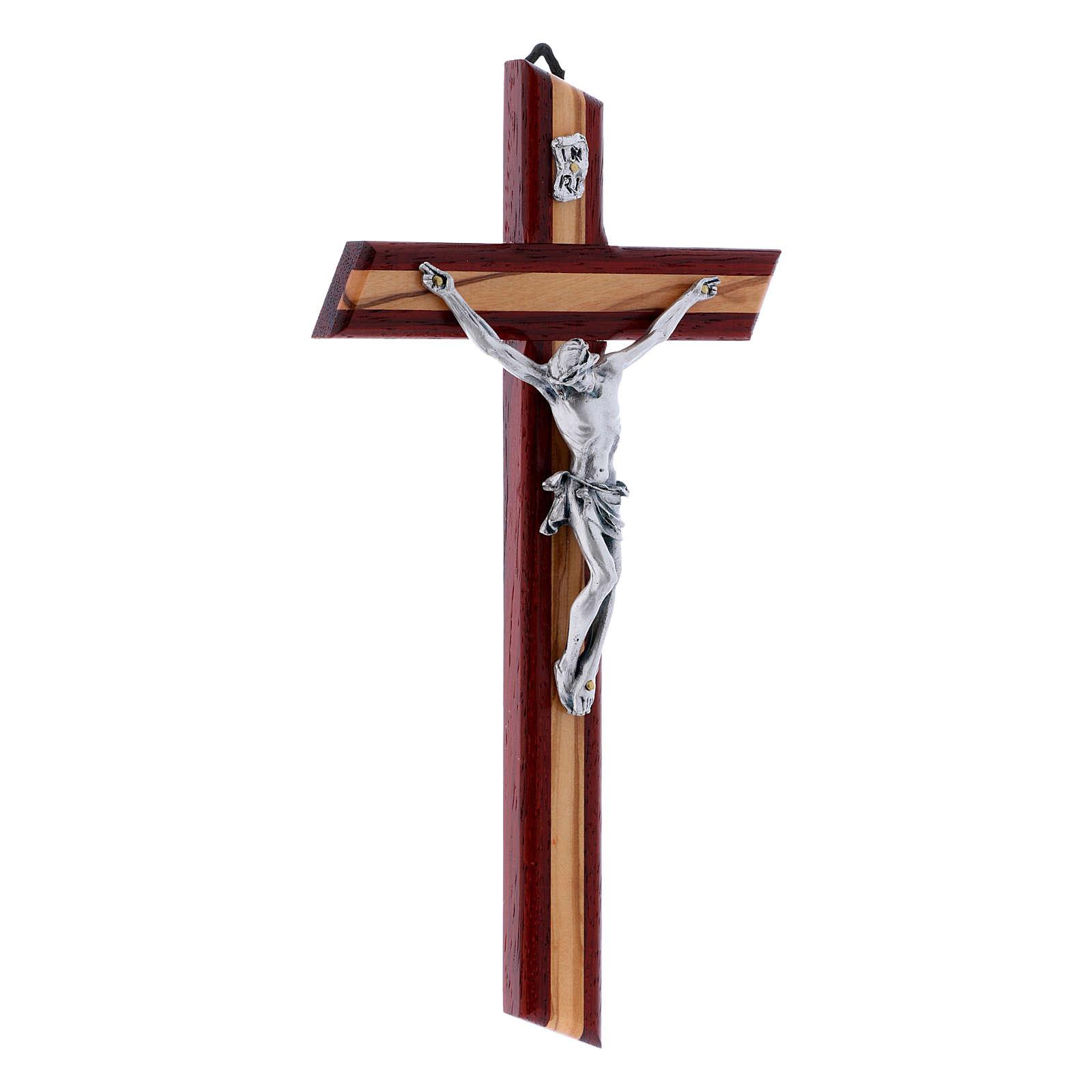 Crocifisso moderno con corpo metallico padouk in legno di olivo 25 cm 4
