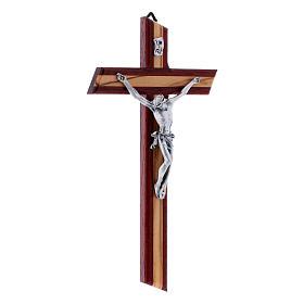 Crocifisso moderno con corpo metallico padouk in legno di olivo 25 cm s2