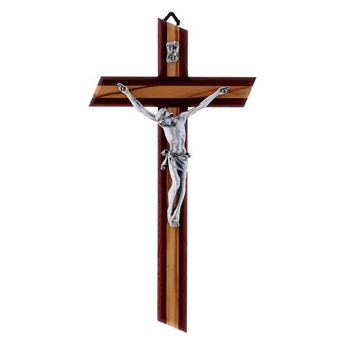 Crocifisso moderno con corpo metallico padouk in legno di olivo 25 cm 1