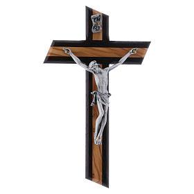 Crocifisso moderno wengé in legno di olivo 16 cm s1