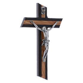 Crocifisso moderno wengé in legno di olivo 16 cm s2