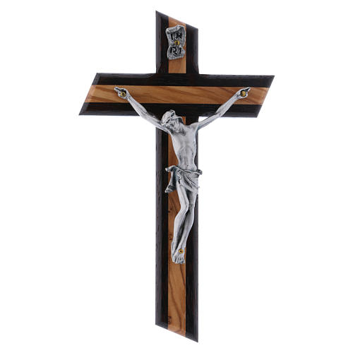 Crocifisso moderno wengé in legno di olivo 16 cm 1