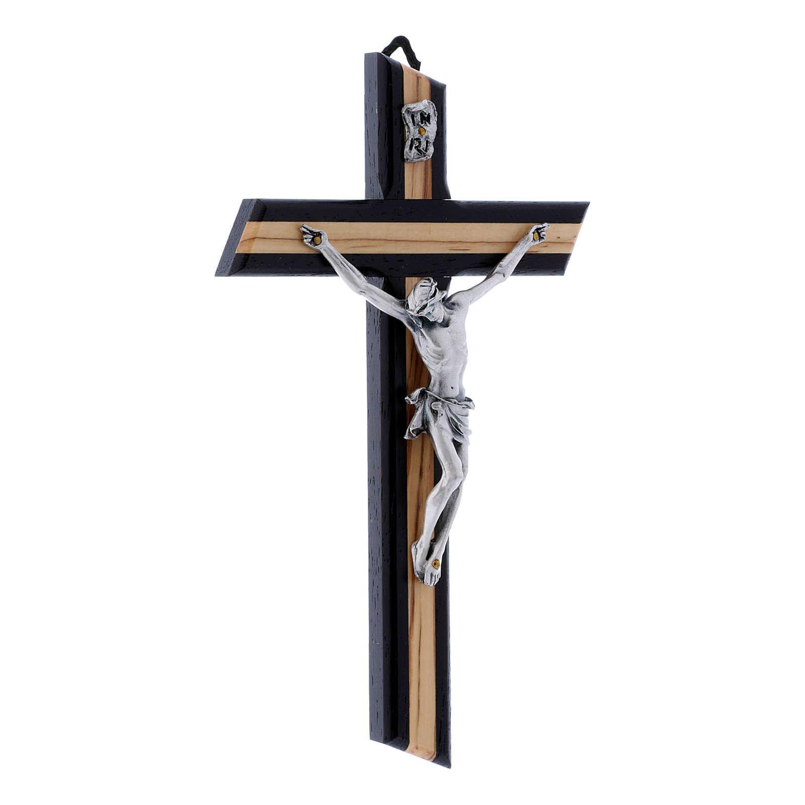 Crocifisso wengé in legno di olivo moderno con corpo metallico 21 cm 4