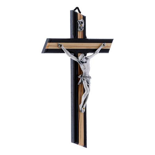 Crocifisso wengé in legno di olivo moderno con corpo metallico 21 cm 2