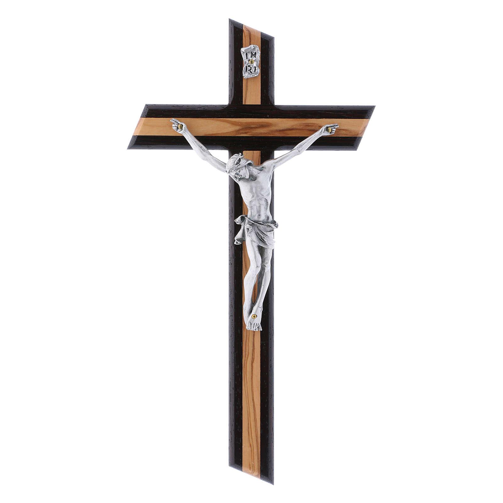 Crocifisso moderno in legno di olivo wengé con corpo argentato 25 cm 4