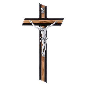 Crocifisso moderno in legno di olivo wengé con corpo argentato 25 cm s1