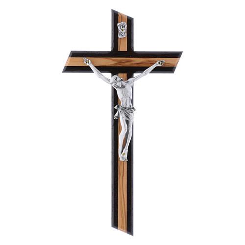 Crocifisso moderno in legno di olivo wengé con corpo argentato 25 cm 1