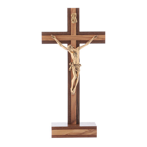 Standing crucifix for table modern design in olive wood and Jesus Christ's body in metal 21 cm 1