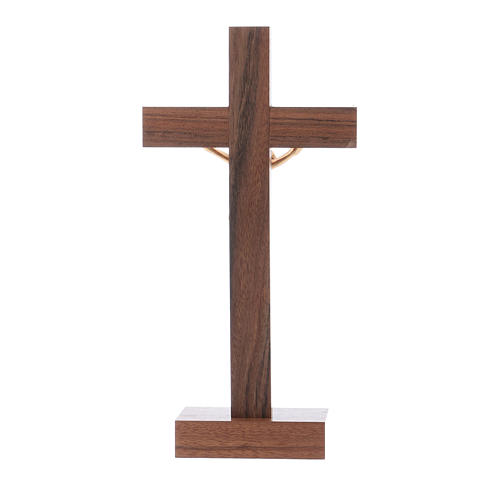 Standing crucifix for table modern design in olive wood and Jesus Christ's body in metal 21 cm 3