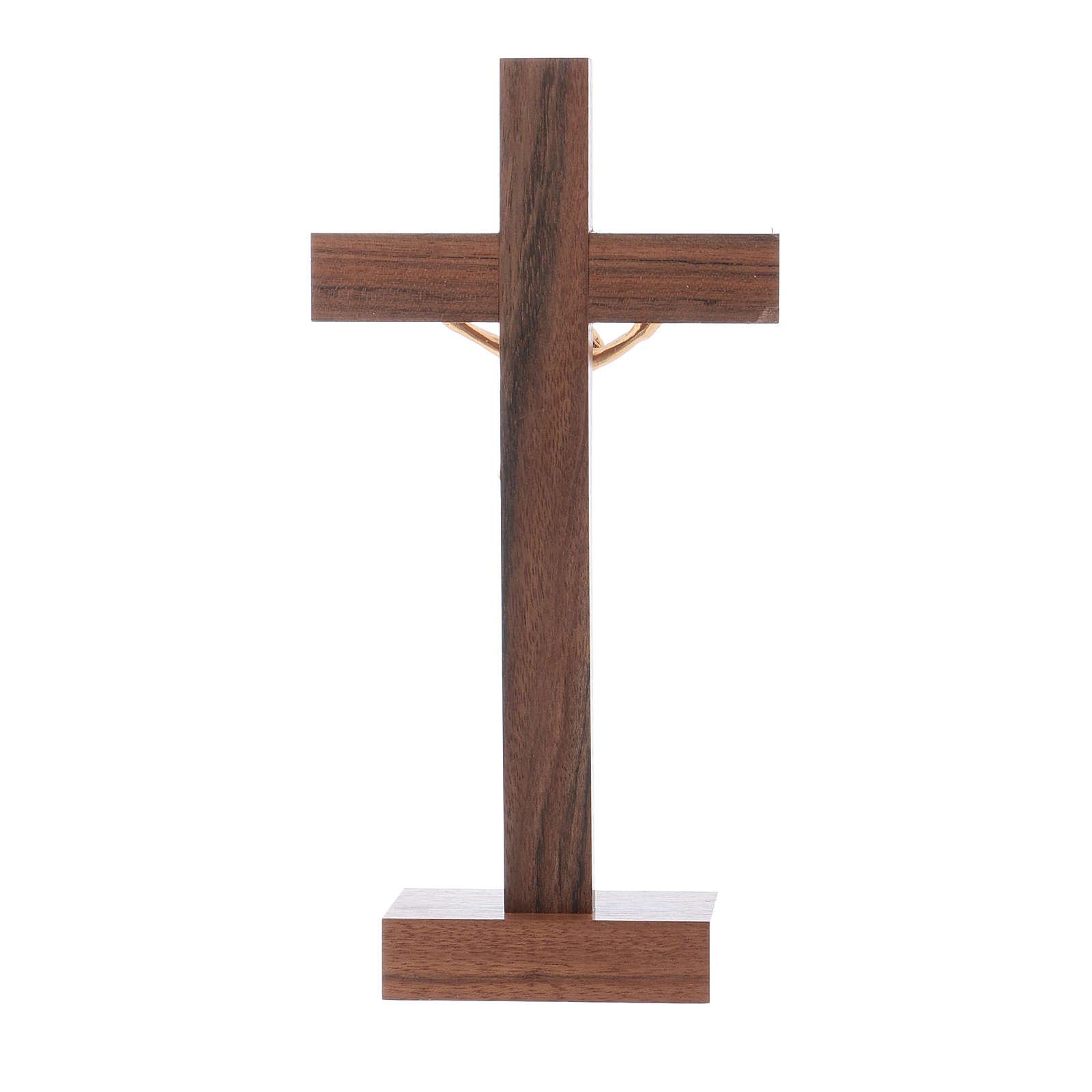 Crucifijo de mesa moderno de madera de nuez y olivo cuerpo metal 21 cm 4