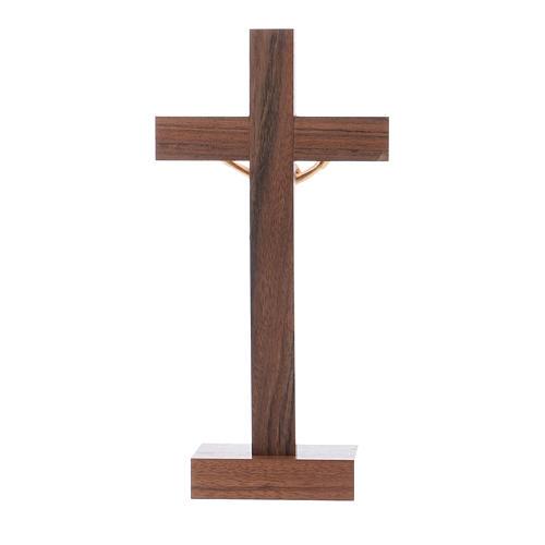 Crucifijo de mesa moderno de madera de nuez y olivo cuerpo metal 21 cm 3