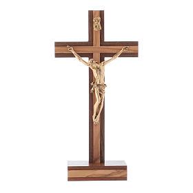 Crocifisso da tavolo moderno in legno di noce e olivo corpo metallo 21 cm s1