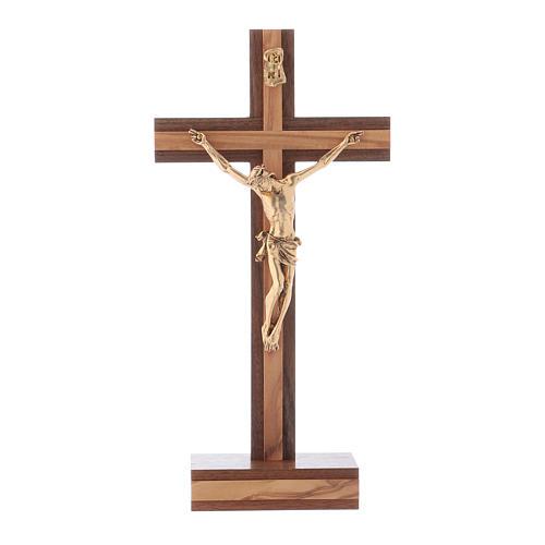 Crocifisso da tavolo moderno in legno di noce e olivo corpo metallo 21 cm 1