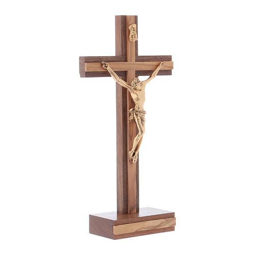 Crocifisso da tavolo moderno in legno di noce e olivo corpo metallo 21 cm 2