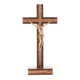 Standing crucifix for table modern design in olive wood and Jesus Christ's body in metal 21 cm s1