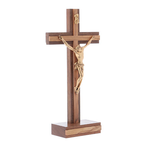 Standing crucifix for table modern design in olive wood and Jesus Christ's body in metal 21 cm 2