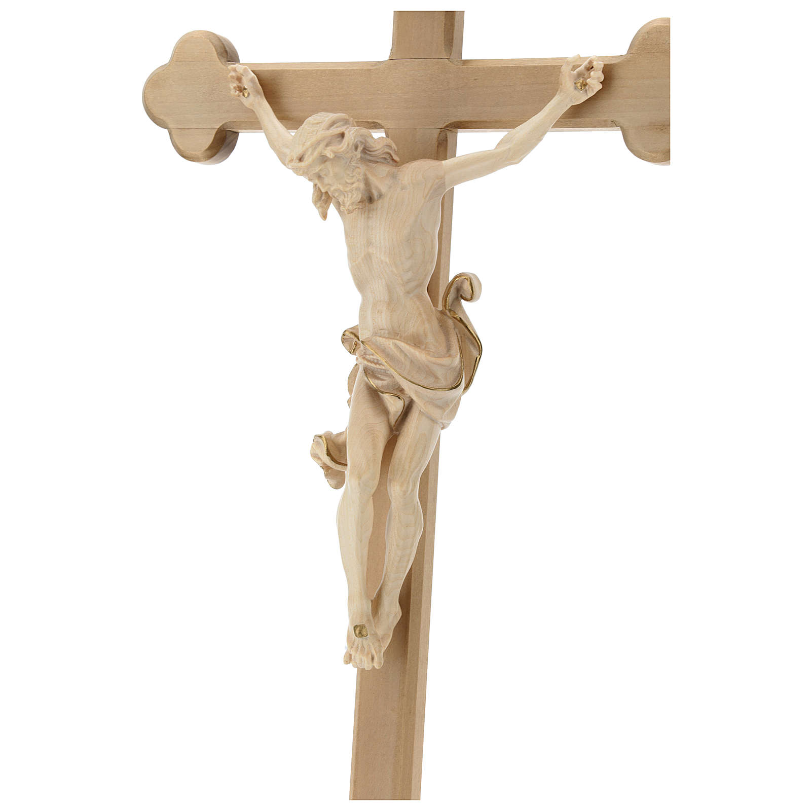 Leonardo crucifix with Baroque cross burnished in colourless wax and gold thread 4