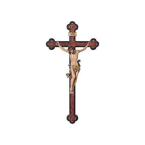 Crucifijo coloreado Leonardo cruz envejecida barroca 1