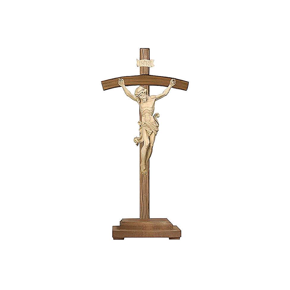 Crocefisso naturale Leonardo croce curva con base 4