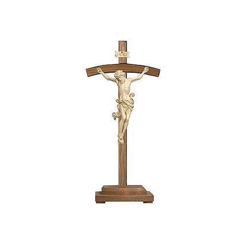 Crocefisso Leonardo croce curva con base cera filo oro 1