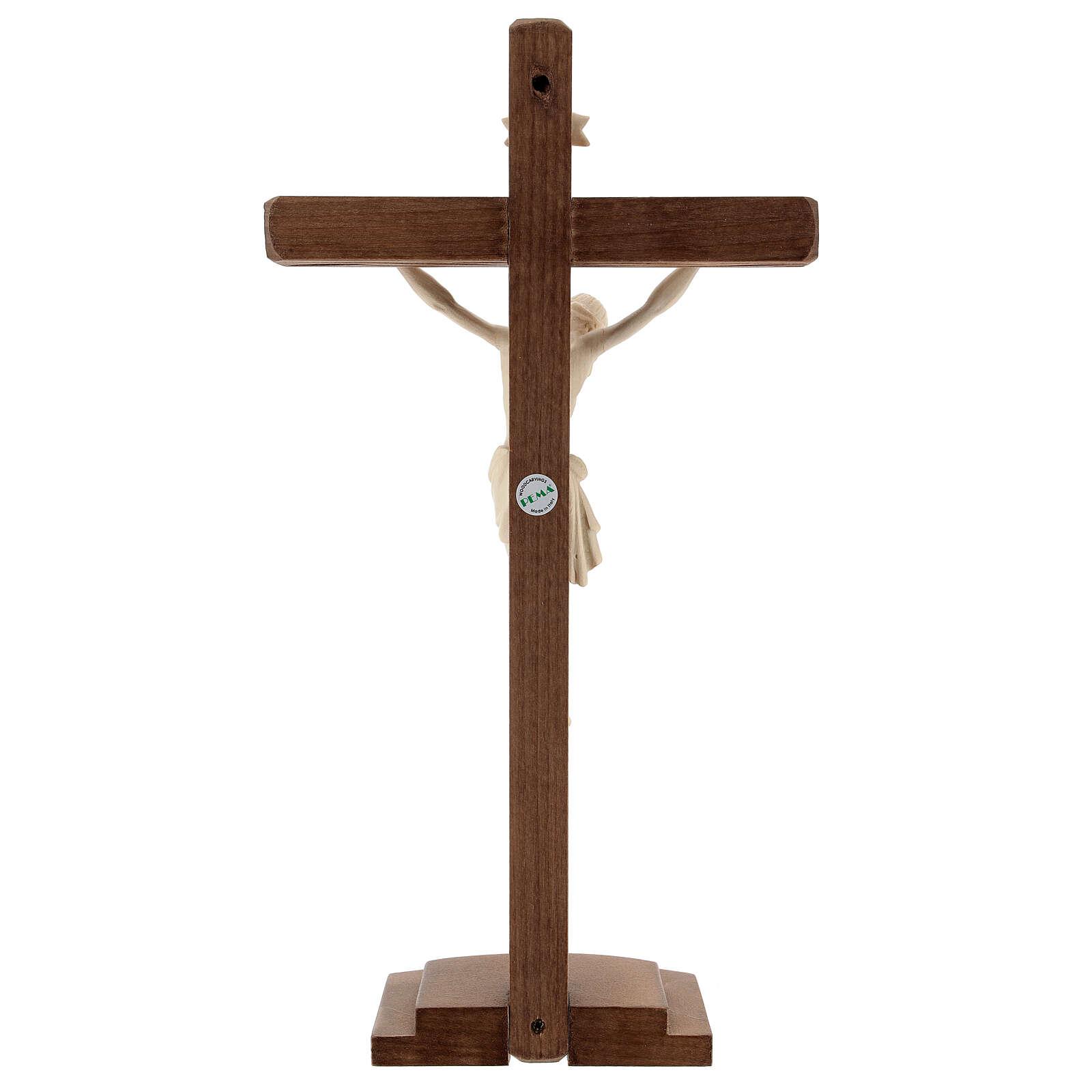 Kruzifix Mod. Siena rechten Kreuz Grödnertal Naturholz mit Basis 4