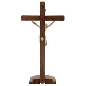 Kruzifix Mod. Siena rechten Kreuz Grödnertal Naturholz mit Basis s4