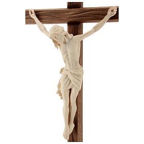 Kruzifix Mod. Siena rechten Kreuz Grödnertal Naturholz mit Basis s5