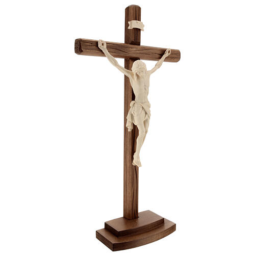 Kruzifix Mod. Siena rechten Kreuz Grödnertal Naturholz mit Basis 3