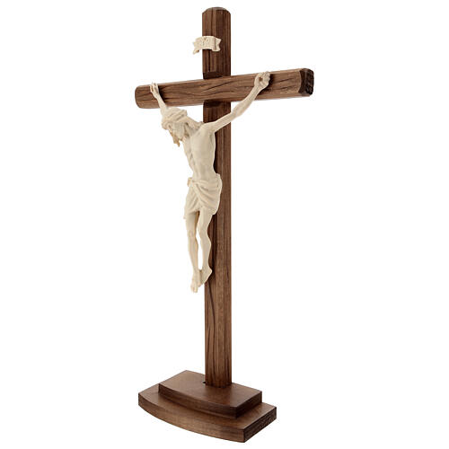 Jesus Christ on crucifix Siena model in natural wood with base 2