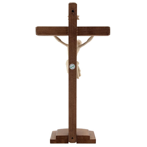 Jesus Christ on crucifix Siena model in natural wood with base 4