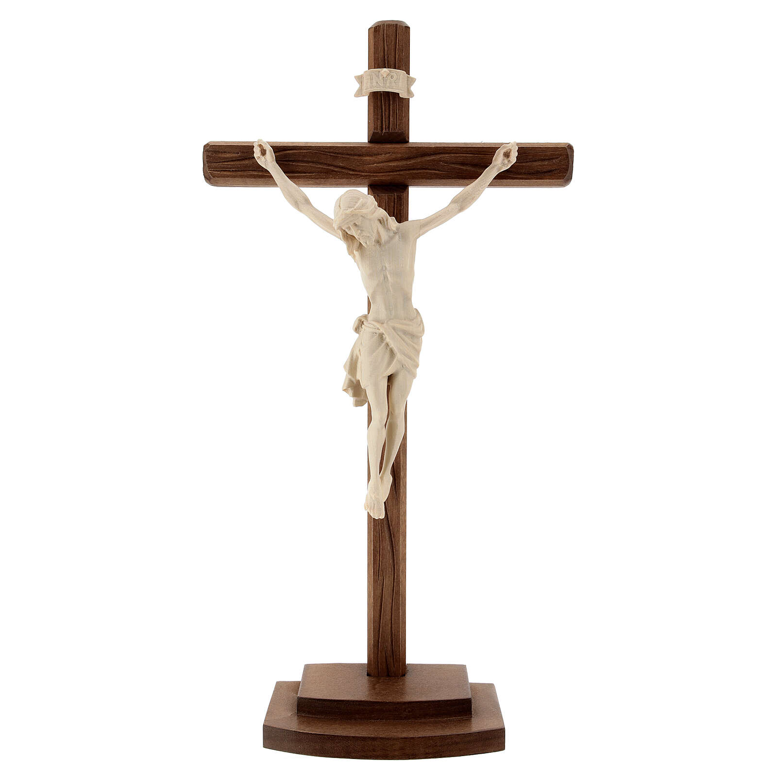 Crucifixo Cristo Siena madeira natural cruz com base 4