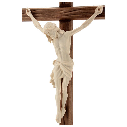 Jesus Christ on crucifix Siena model in natural wood with base 5