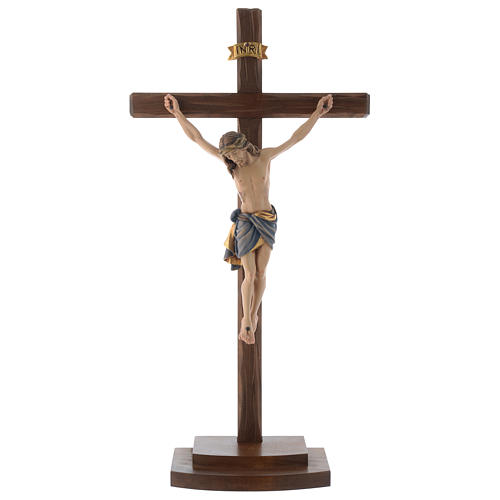Crucifijo coloreado Cristo Siena cruz con base 1