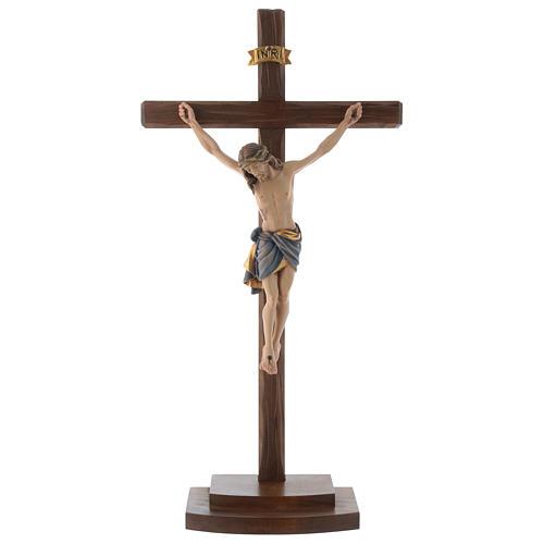Crucifix coloré Christ Sienne croix avec base 1