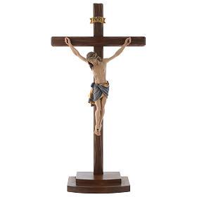 Crocefisso colorato Cristo Siena croce con base s1