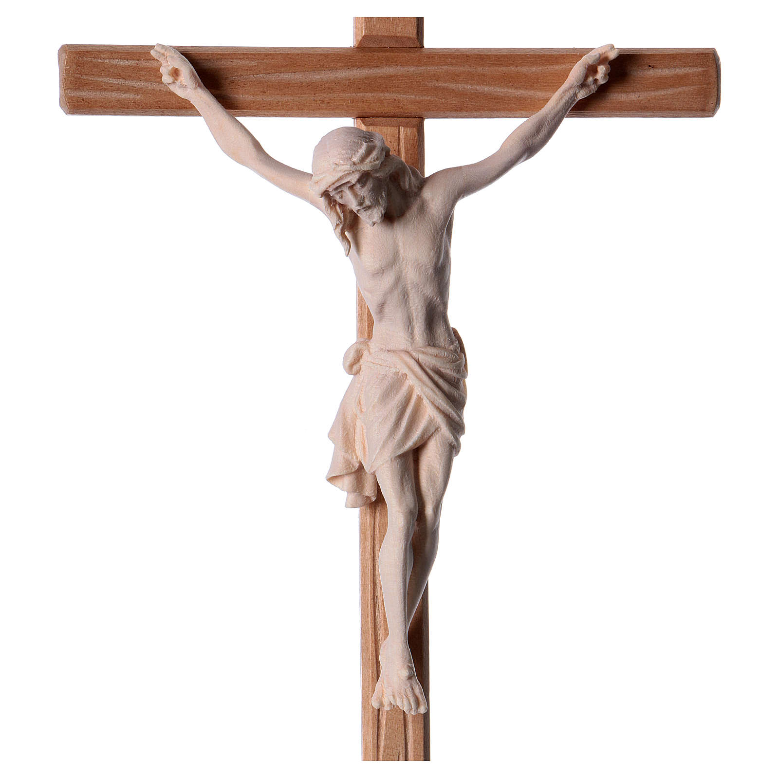 Crucifix in natural wood with Jesus Christ statue Siena model 4