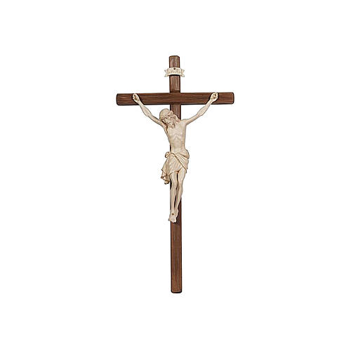 Crucifix with straight cross with Jesus Christ statue Siena model in wax and golden thread 1