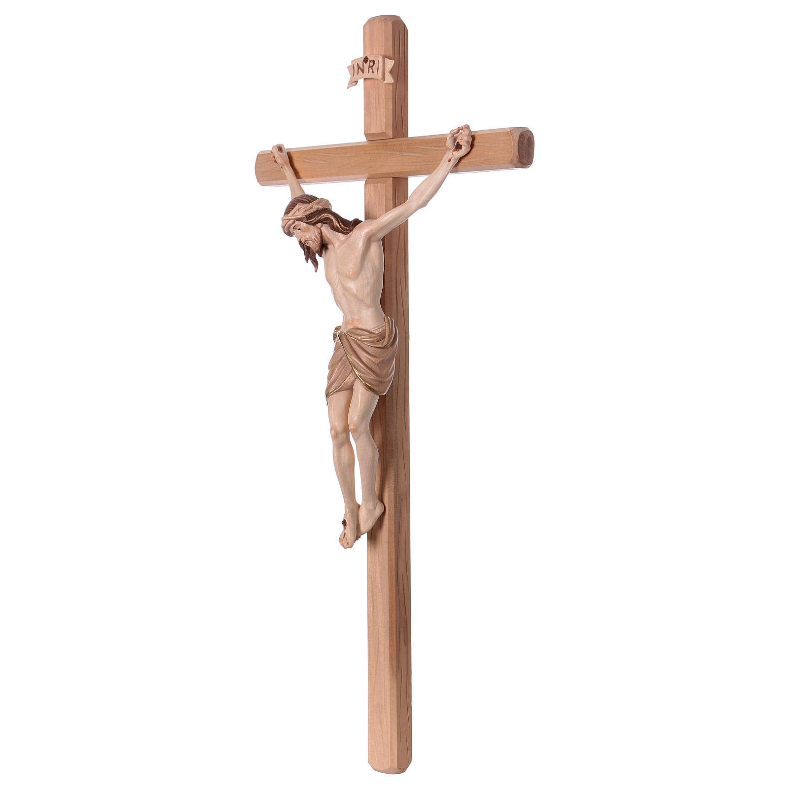 Crucifijo bruñido 3 colores Cristo Siena cruz recta 4
