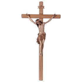 Crucifijo bruñido 3 colores Cristo Siena cruz recta s1