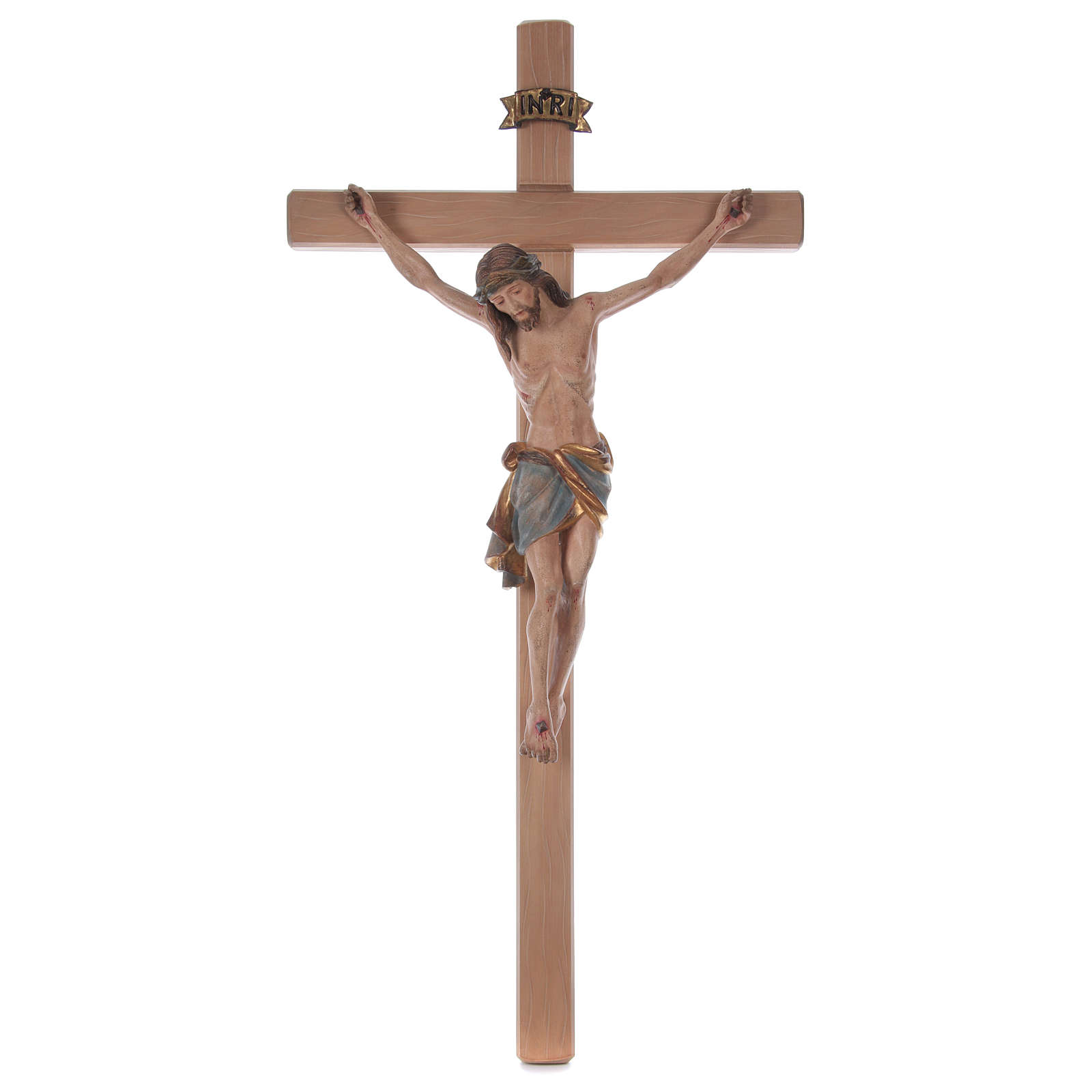 Crocefisso croce diritta Cristo Siena manto oro zecchino antico 124 cm 4