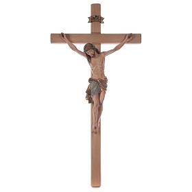 Crocefisso croce diritta Cristo Siena manto oro zecchino antico 124 cm s1