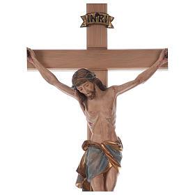 Crocefisso croce diritta Cristo Siena manto oro zecchino antico 124 cm s4