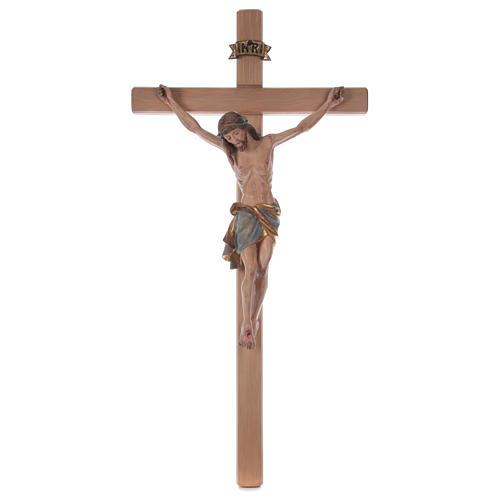 Crocefisso croce diritta Cristo Siena manto oro zecchino antico 124 cm 1