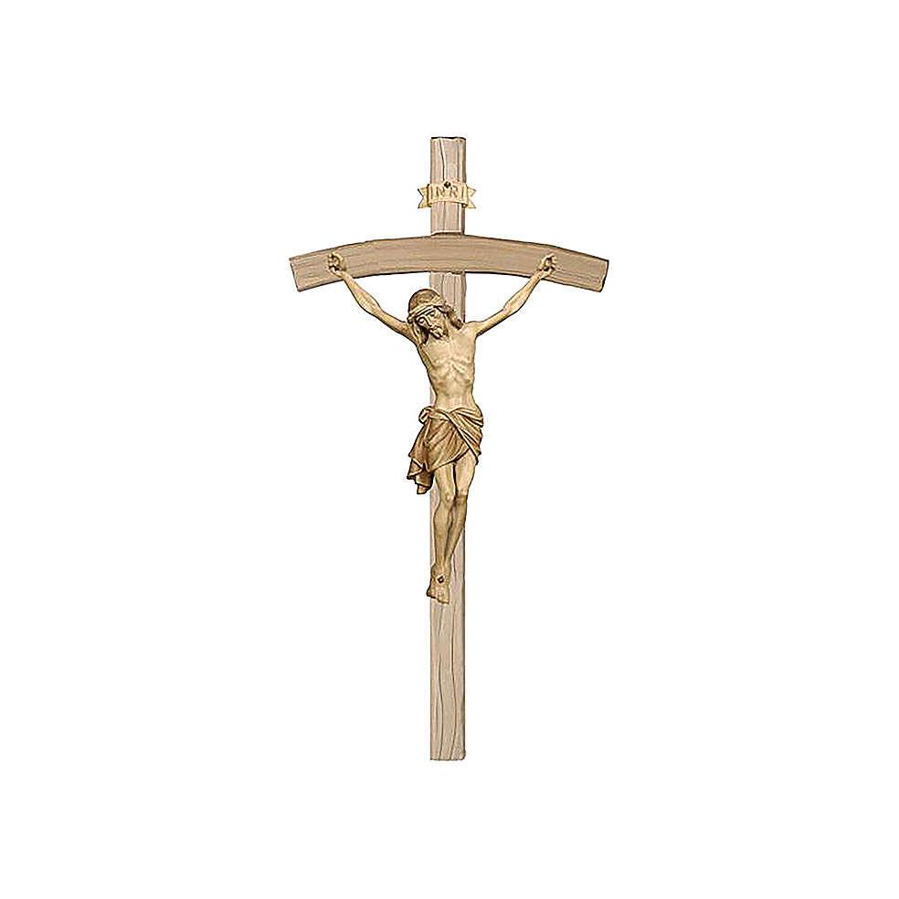 Crucifijo bruñido 3 colores Cristo Siena cruz curva 4