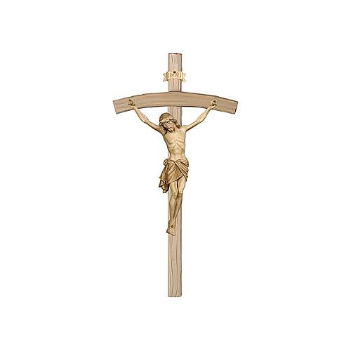 Crucifijo bruñido 3 colores Cristo Siena cruz curva 1